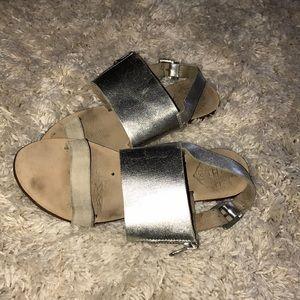 Sol Sana Leather Sandals Metallic Silver Size 36